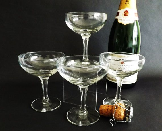 4 Champagne Coupe Glasses Sparkling Wine by CuriosAnCollectibles