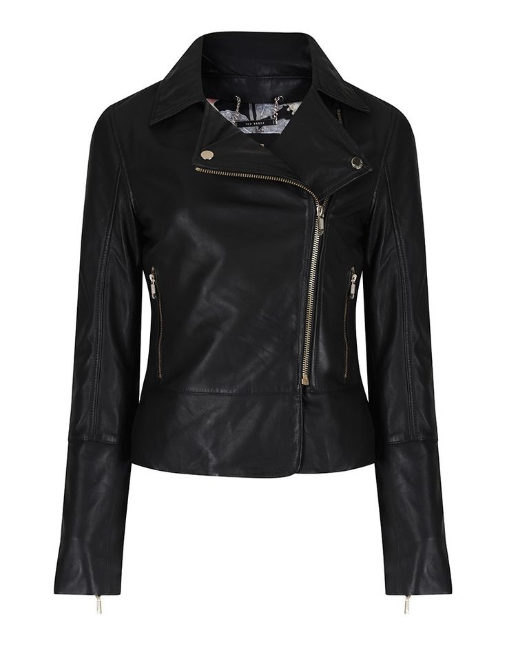 This Ted Baker Lizia leather jacket has a contemporary and fashion forward design. Perfect as a last layer for your spring summer wardrobe, this jacket is inspired by the classic biker theme and features elegant detailing such as metallic zip and button trims and a flattering fit which sits on the waist
