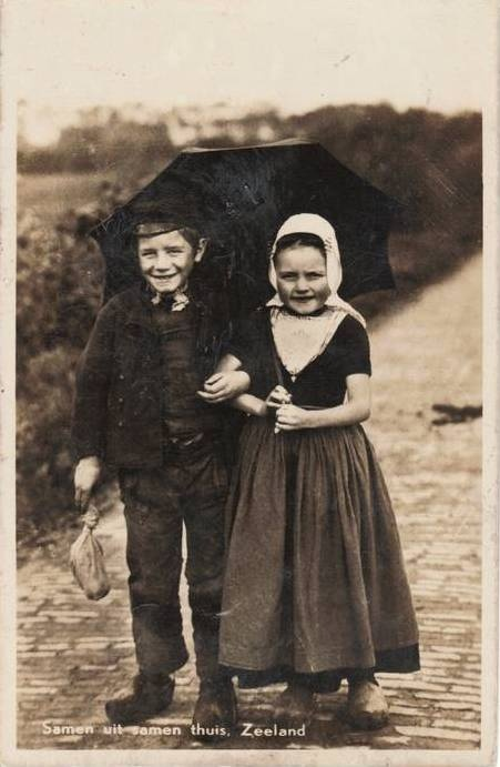 Cute vintage picture from kids in traditional clothing, Zeeland, the Netherlands