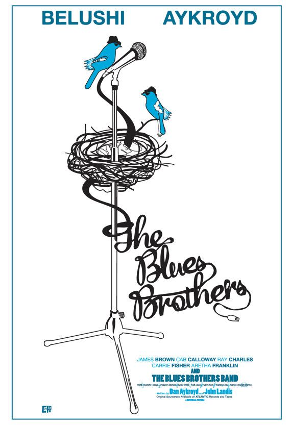 """BluesBirds"", 2013 ~ The Blues Brothers (1980) ~ Minimal Movie Poster by Chelsea Patterson (Cutestreak Design) #minimalmovieposters #alternativemovieposters #chelseapatterson #cutestreakdesigns"