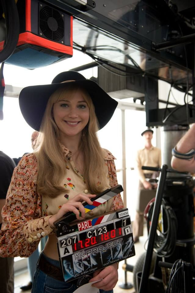 Jennifer Lawrence looking absolutely adorable in 70's attire, on the set of X-Men Days of Future Past.