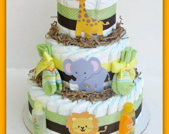 Género neutro selva pañal torta, torta de pañales de Safari, torta de pañales selva, bebé ducha decoraciones, tortas de pañales