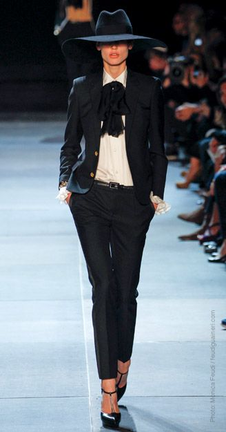 ok love this head to toe. #SaintLaurent  cropped pants, gold button detail...the hat GIMMIE NOW!
