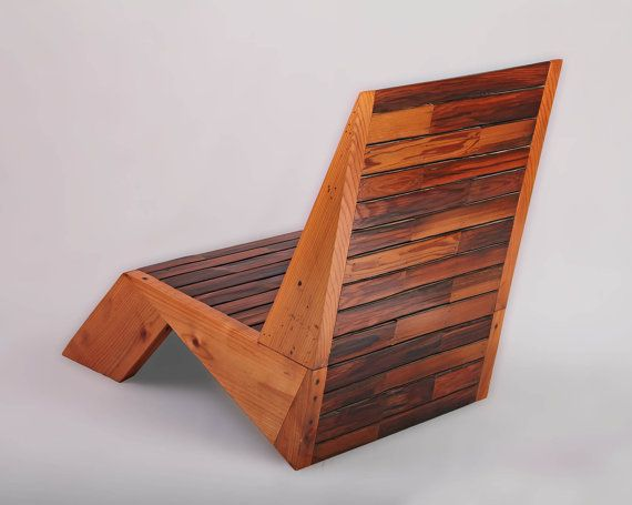 Deck Chair Lawn Chair Redwood Deck Chair by SweetRedDesign