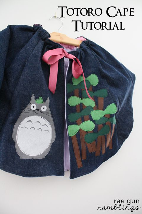 Make your own Totoro Cape - Rae Gun Ramblings - I doubt the boys would want a cape, but O would probably love Totoro and Catbus on a shirt