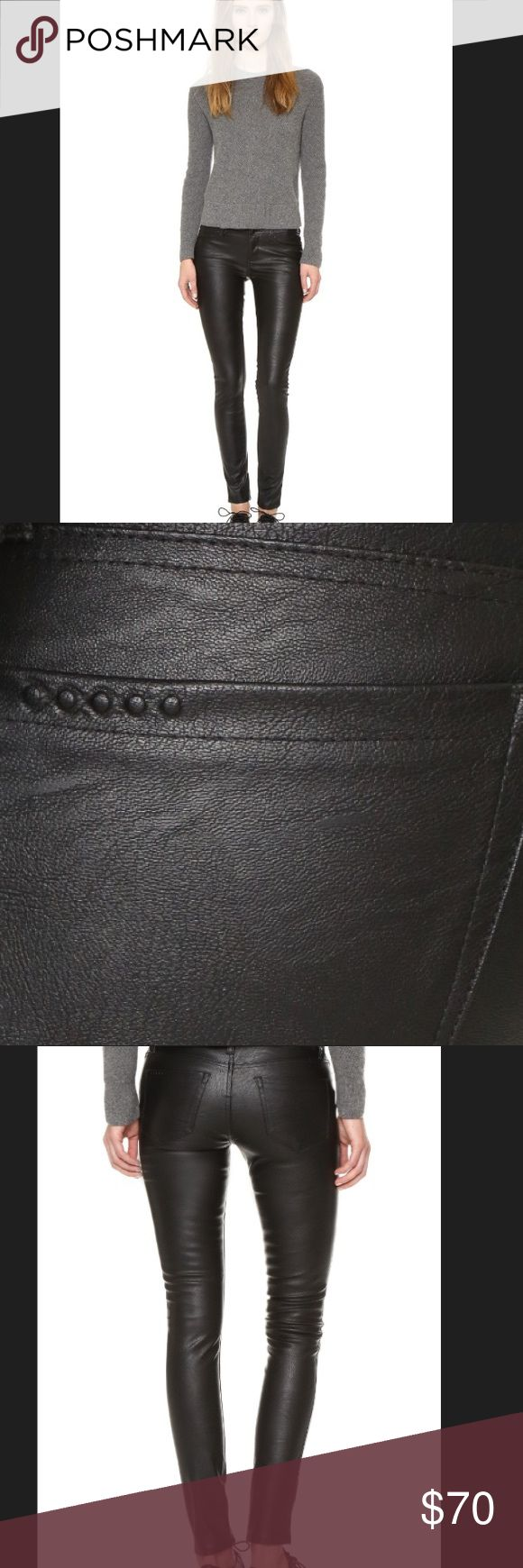NWOT VEGAN (Faux) leather Blank Denim NYC pants NWT-only tried on. Blank Denim NYC pants arefaux leather with a classic skinny profile. Faux front pockets streamline the front, and patch back pockets finish the look. Single-button closure and zip fly.Fabric: Faux leather.60% polyurethane/40% viscose.Hand wash. MEASUREMENTSRise: 8in 20.5cmInseam29in / 73.5cmLeg opening: 10in / 25.5cm . Ive owned a few pairs of these. I gained weight and tried these and torethe belt loop🙈Not noticeable when…