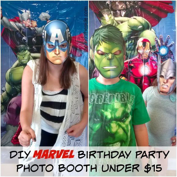 DIY MARVEL Birthday Party Photo Booth Under $15 that is perfect or MARVEL Themed Birthday Parties and Avengers Themed Birthday Parties.