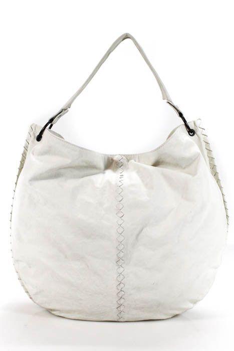 Bottega Veneta White Leather Intrecciato Woven Trim Hobo Handbag Ebay Link Howtomakeleatherhandbags