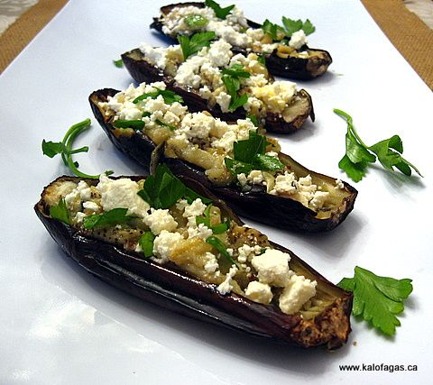Roasted Eggplant With Feta - Kalofagas