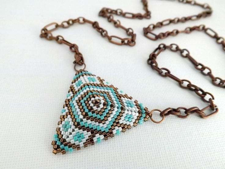 Peyote Triangle Pendant Necklace Turquoise Brown by MadeByKatarina