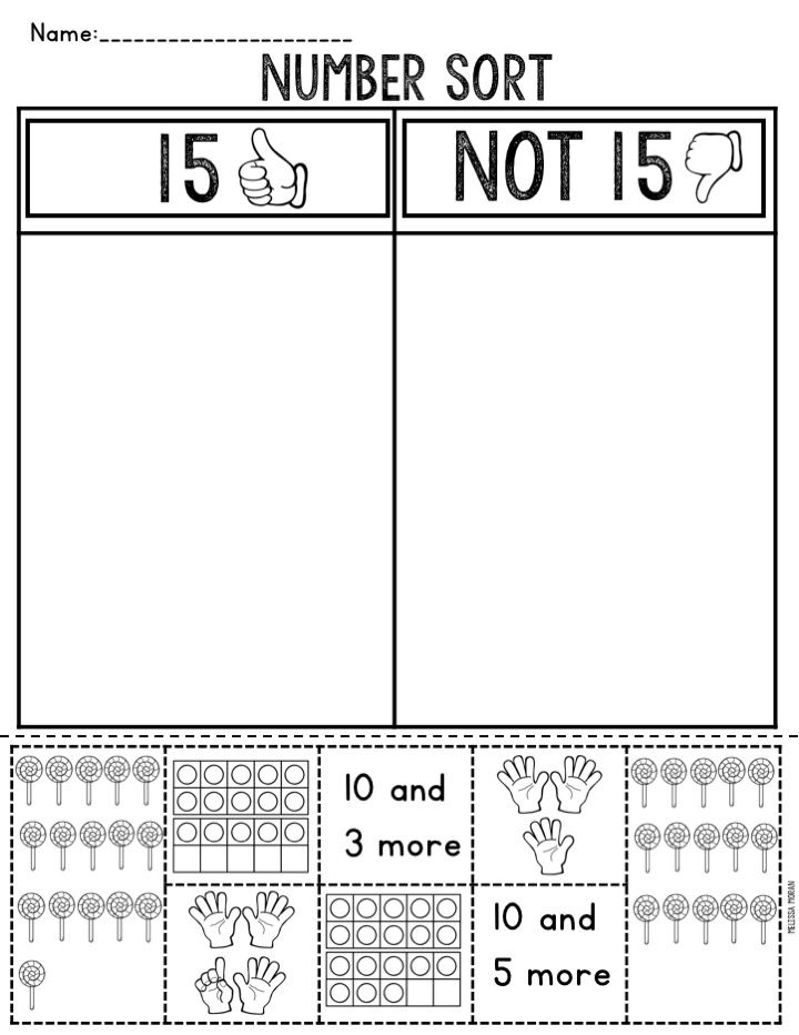 l number sorts for the numbers 11-19. Includes 9 different colorful representations for each number, allowing students to see different representations of each number. Great for a math center or small group instruction. Also includes black and white individual student sorts.