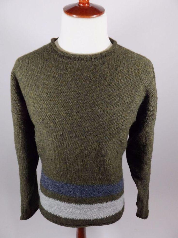 EMS Eastern Mountain Sports 100% Wool Striped Green Blue White Sweater Men XL #EasternMountainSports #Crewneck