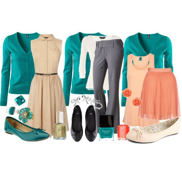 """Teacher Outfits on a Teacher's Budget: Turquoise Cardigan"" by allij28 on Polyvore"