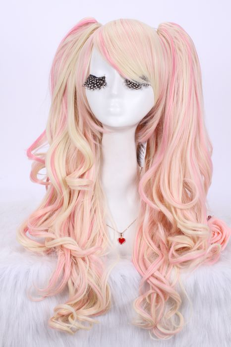 65cm long curly Multi Color cosplay wig Lolita clip on ponytail wavy girls hair