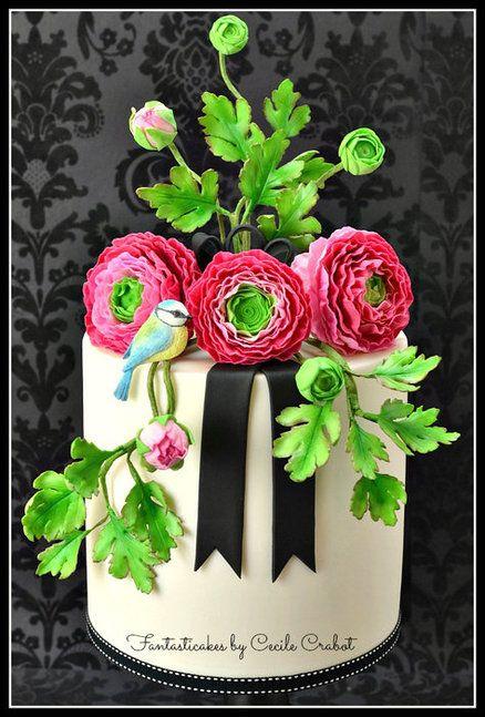 Ranunculus and Bird Cake | Fantaticakes Cecile Crabot