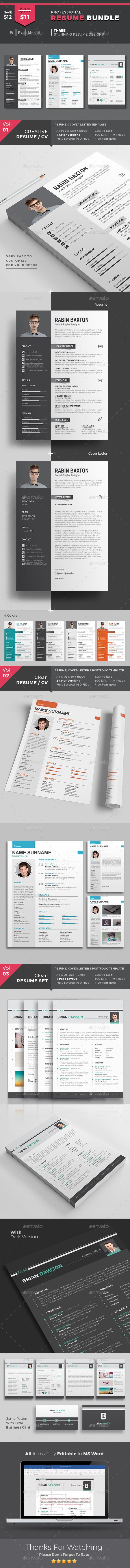 MS Word Resume Template Bundle | Super Saver | PSD + AI + INDD/IDML + Word | Instant Download | Step by step customization Tutorial Included with Screen Shots | Free Business Card Template