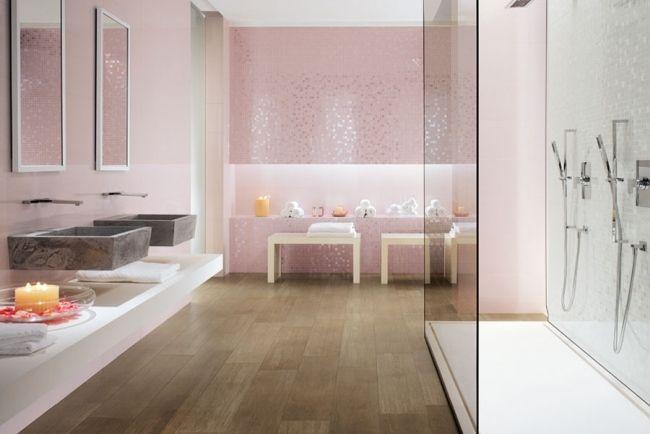 badezimmer fliesen italien rosa mosaik spiegel effekt glas duschkabine