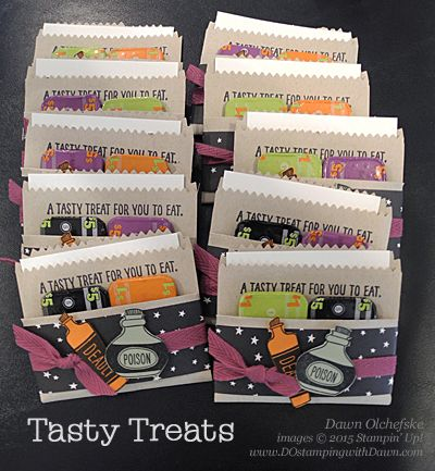 Halloween Treat using Stampin' Up! Mini Treat Bag Thinlits by Dawn Olchefske