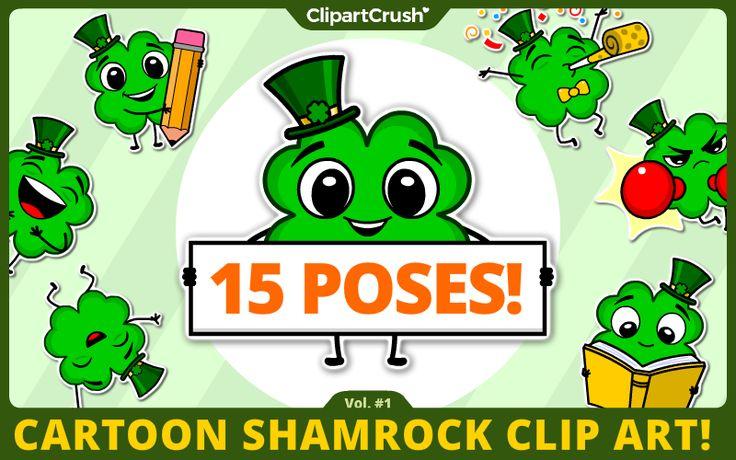 St. Patrick's Day Clipart. Irish 4-leaf clover Lucky Shamrock Emotions Set.  cute shamrock clipart for teachers