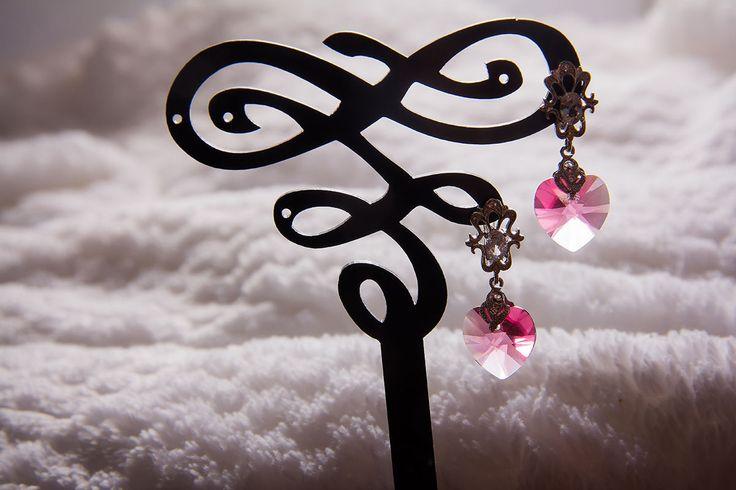 """Купить Серьги """"Анжелика"""" - розовый, серебристый, розовые серьги, серебристые серьги, серьги со сваровски"""