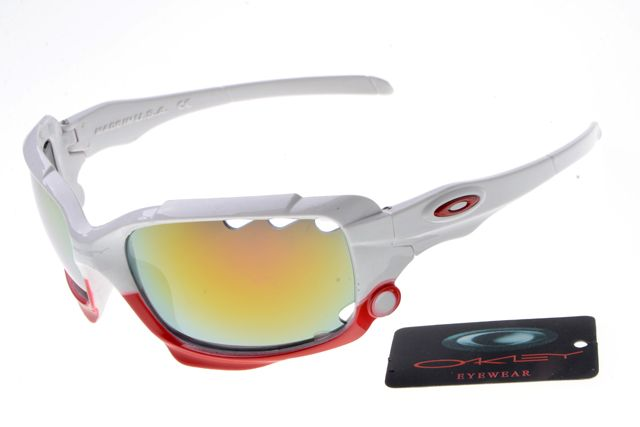 Oakley Jawbone Sunglasses White Red Frame Colorful Lens 0668