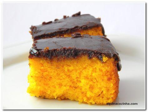 Bolo de Cenoura com Calda de Chocolate (aquela durinha)   Blog Aqui na Cozinha  