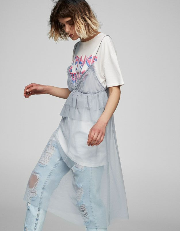 Tulle dress with frills - Dresses - Clothing - Woman - PULL&BEAR Indonesia