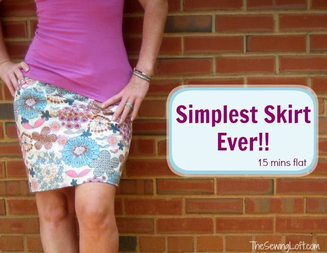 Simple Skirt. No pattern even needed. You'll have this skirt sewn and be wearing it in 15 minutes, and then want to make another and another. Love this simple skirt sewing idea, I wear these all summer long. | The Sewing Loft
