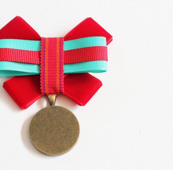 Military Style Brooch, Medal, OOAK