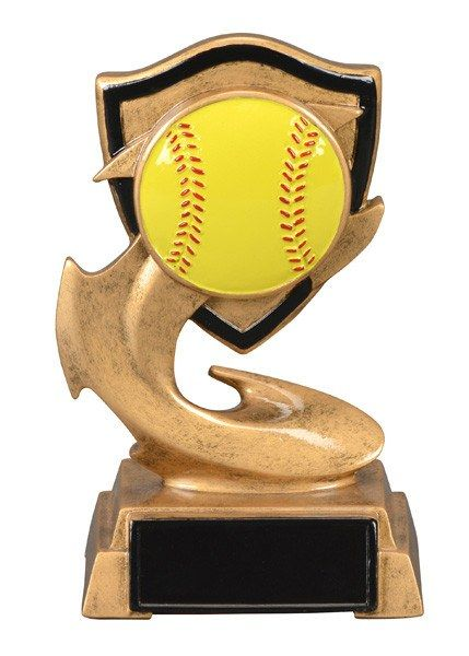 Electric Flame Resin Softball Trophy - Multiple Sizes