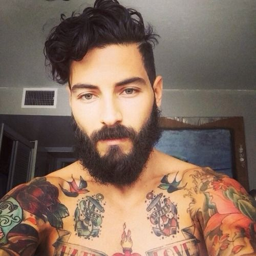 Hipster men, beard, tattoos, curly hair, muscles