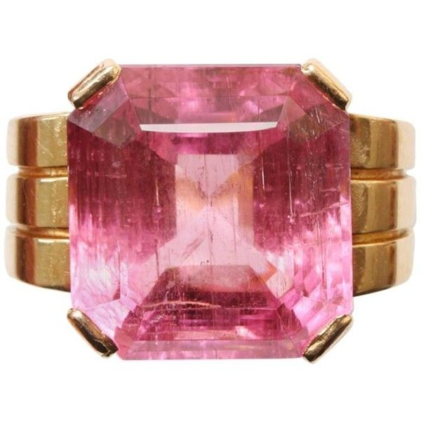Preowned Art Deco Pink Tourmaline Gold Ring featuring polyvore, women's fashion, jewelry, rings, pink, gold jewellery, pink tourmaline ring, pre owned rings, yellow gold rings and rubellite ring