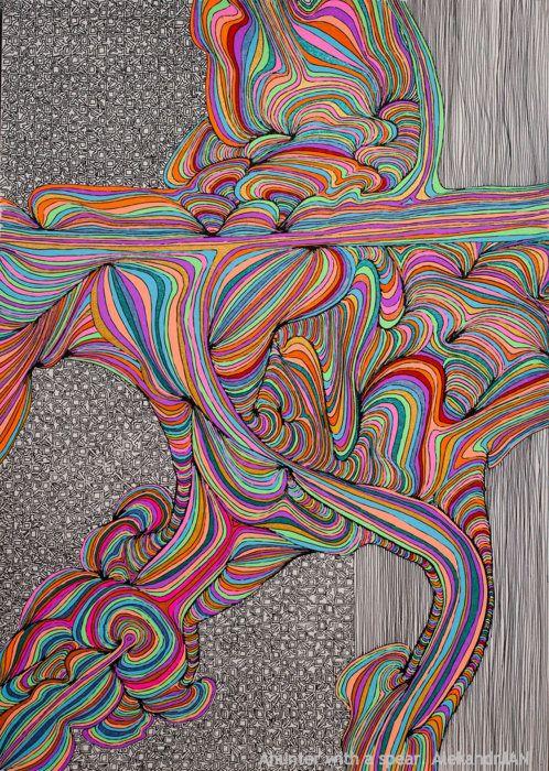 Color flow   . . . .   ღTrish W ~ http://www.pinterest.com/trishw/  . . . .    #doodle #pattern #color