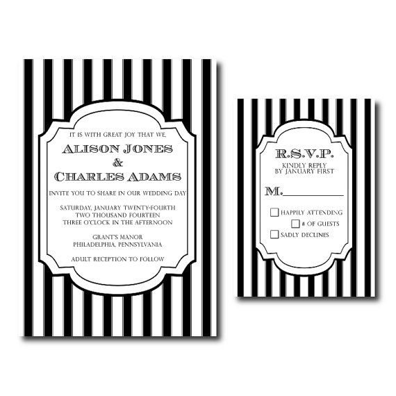 Amazing Classic Black And White Stripes   Wedding Invitation And RSVP Card    Printable