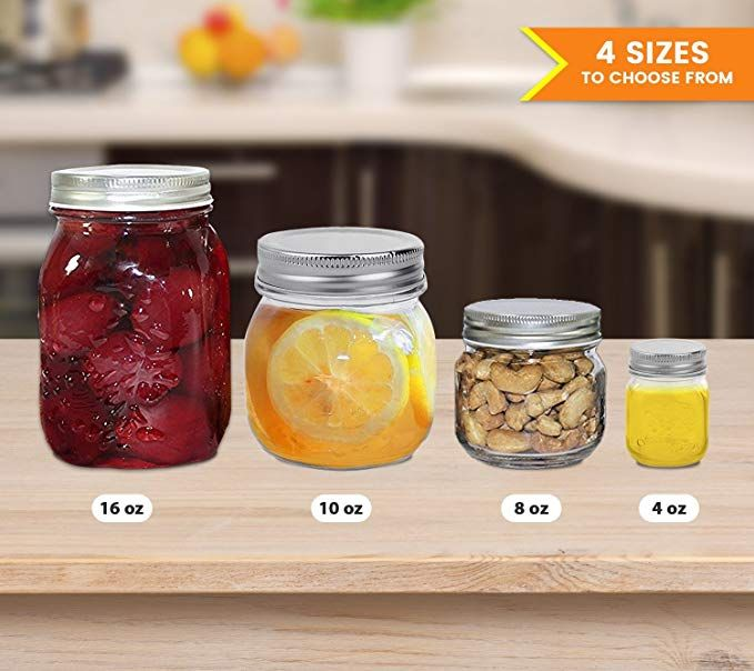 Amazon Com Golden Spoon Mason Jars With Regular Lids And Lids For Drinking Dishwasher Safe Bpa Free Set Of 6 10 Oz Kitch Golden Spoon Mason Jars Jar