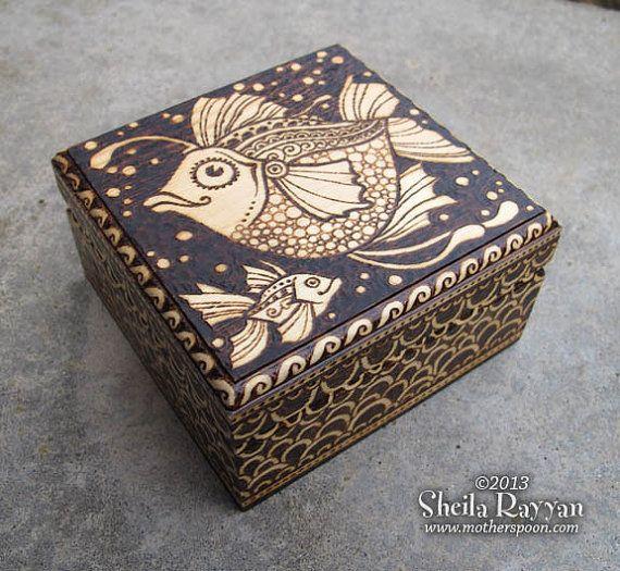 Two Fish Box - Pyrography via Etsy