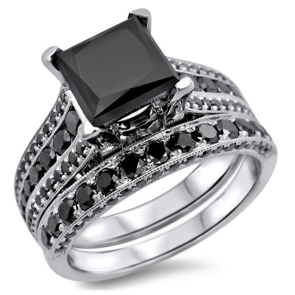 Noori 14k White Gold 3.8ct TDW Certified Princess Cut Black Diamond Ring Set - Overstock Shopping - Top Rated Noori Collection Bridal Sets