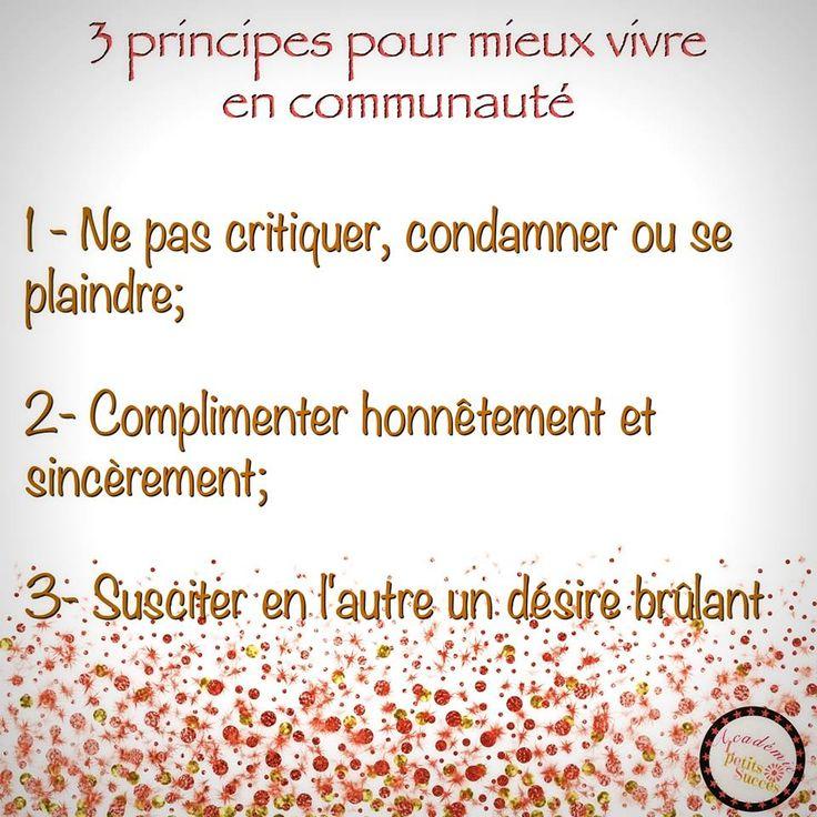 3 principes de vie en communauté.