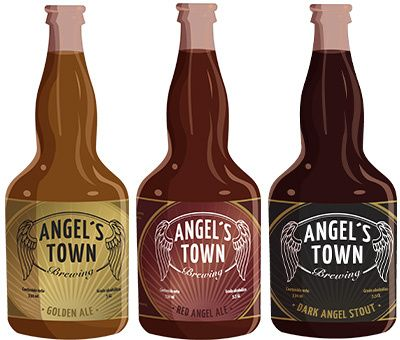 Angel's Town Pale Ale. Angel's Town Brown Ale. Angel's Town Belgian Stout.
