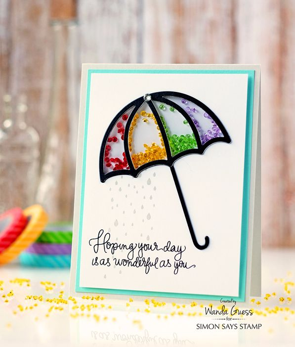 Umbrella Shaker Card. Wanda Guess for Simon Says Stamp! Rainbow gems and handwritten greetings.