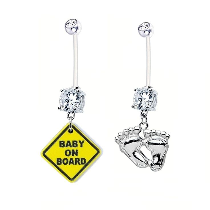 Pregnancy Belly Button Rings 2-pack BABY ON BOARD + BABY FEET Clear Gems 14g BioFlex Navel Piercing Maternity Jewelry