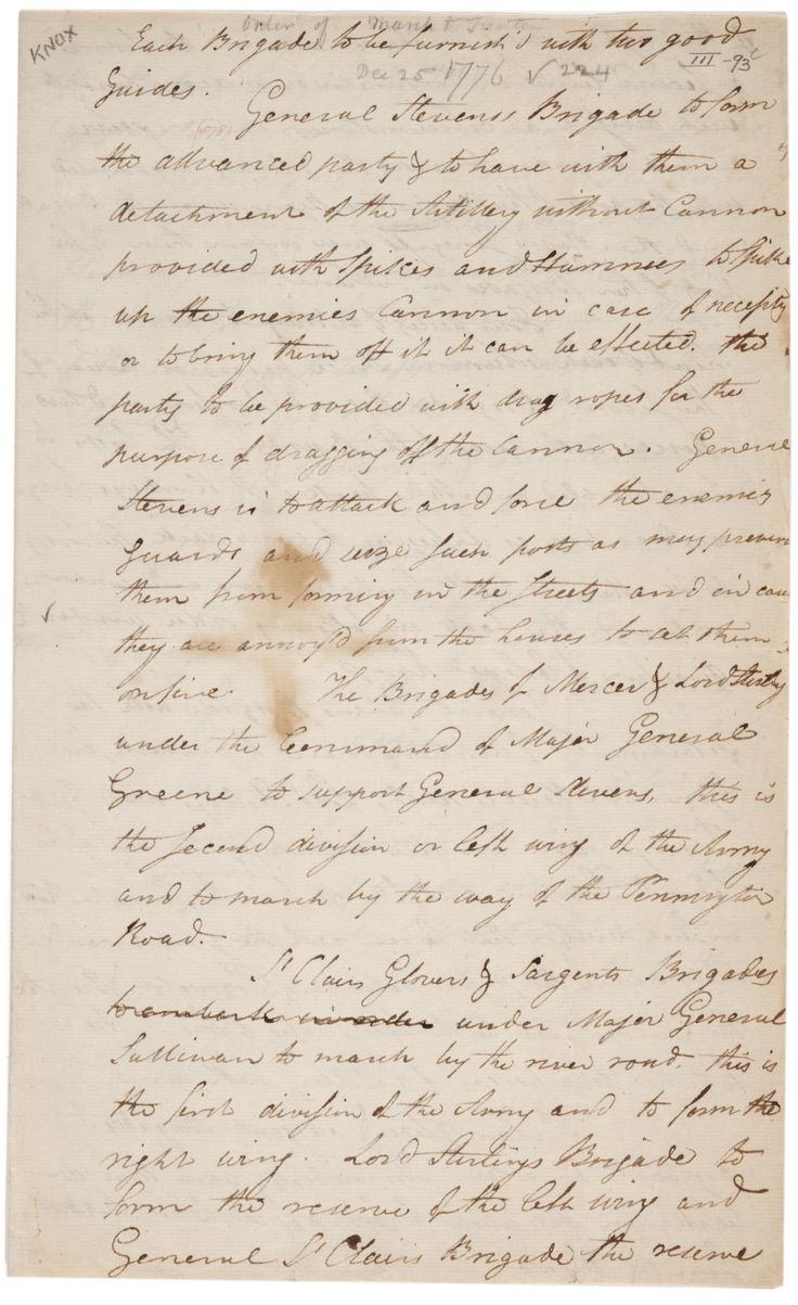 View picture of general henry knox museum montpelier thomaston - Henry Knox Order Of March To Trenton December 26 1776 Gilder Lehrman