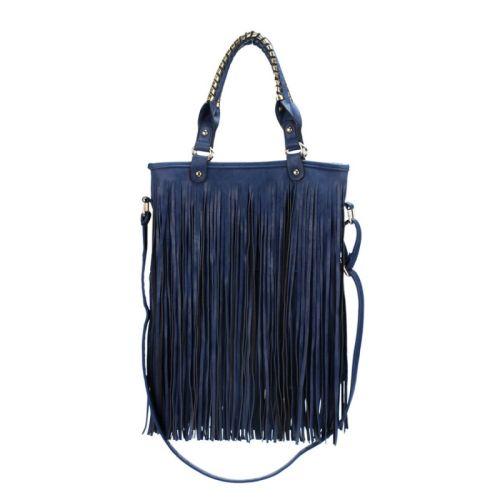 Τσάντα γυναικεία με κρόσσια Ώμου - χεριού OGZ016-Dark Blue