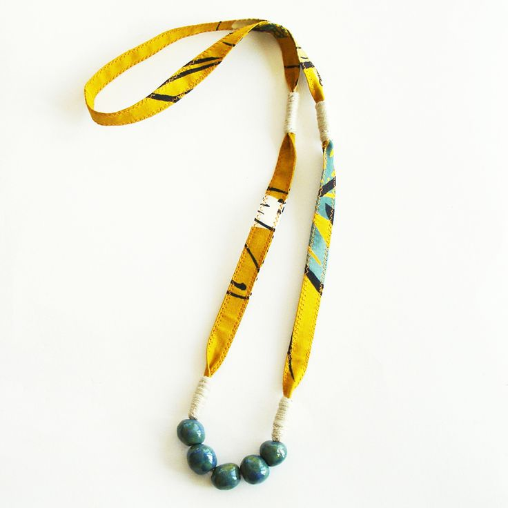 Vintage kimono fabric necklace