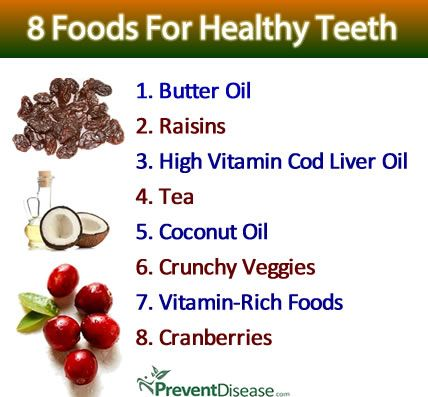 8 FOODS FOR HEALTHY TEETH. There are far more than eight foods for healthy teeth, but these work especially well to prevent and even reverse tooth decay and gum disease in the long-term.