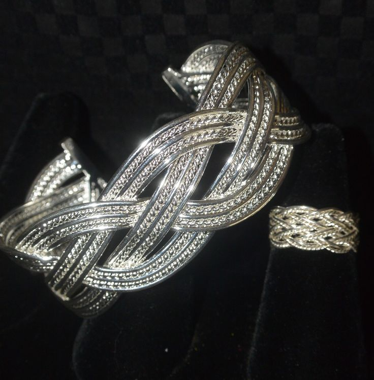 """Wonderful 1"""" wide solid Sterling Silver braided bangle, adjustable for comfort on your wrist. Will quickly become your favorite """"go to"""" piece! Matching ring 3/8"""" wide is also adjustable to wear on any finger."""
