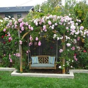 Garden Arbor Swing With Flowers , Garden Arbor Swing In Garden And Lawn Category