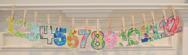 Iron On Lilly Pulitzer Monthly Numbers by TheCoralCharmShop on Etsy https://www.etsy.com/listing/200331611/iron-on-lilly-pulitzer-monthly-numbers