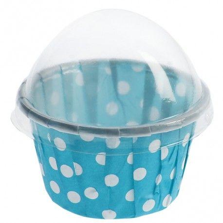 Boîte à dragées Cupcake turquoise à pois blancs les 6