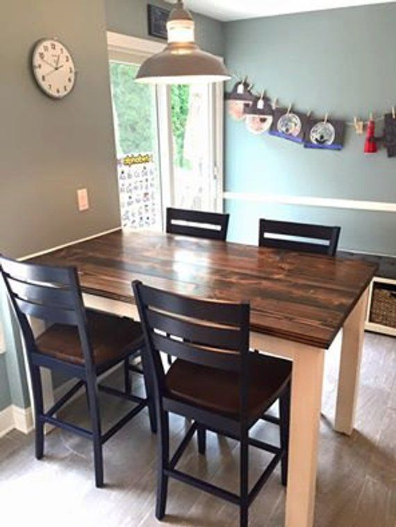 Counter Height Farmhouse Table | Solid Wood Farmhouse Dining ...